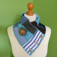 Neck Warmer Scarf with 3 button Trim. Upcycled Cowl. Felt Flower. Blue  Stripe