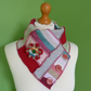 Neck Warmer Scarf with 3 button Trim. Upcycled Cowl. Felt Flower. Red Pink
