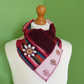 Neck Warmer Scarf with 3 button Trim. Upcycled Cowl. Felt Flower. Burgundy Pink