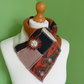 Neck Warmer Scarf with 3 button Trim. Upcycled Cowl. Felt Flower. Orange Green