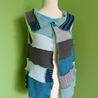 Waistcoat from Patchwork Up-cycled Jumpers. Medium to Large. Blues