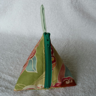 Stitch Marker Holder. Mini Pyramid Purse. Sewing Notions Holder. Green Print