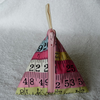 Stitch Marker Holder. Mini Pyramid Purse. Sewing Notions Holder. Tape Measure