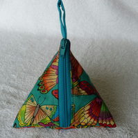 Stitch Marker Holder. Mini Pyramid Purse. Sewing Notions Holder. Butterfly