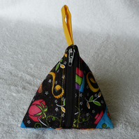 Stitch Marker Holder. Mini Pyramid Purse. Sewing Notions Holder. Notions Black