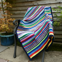 Crochet Lap Blanket. Crochet Throw. Baby Cot Blanket. Multicolour Blanket