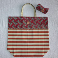 Fold Up Bag in Stripe Fabric