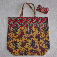 Fold Up Bag in Multicoloured Paisley Fabrics