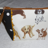 Dog Print Zipped Purse. Fully Lined with Gusset and Zip Pull. Ric Rac Trim