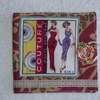 Sewing Needle Case with Sewing Pattern Panel. Red.