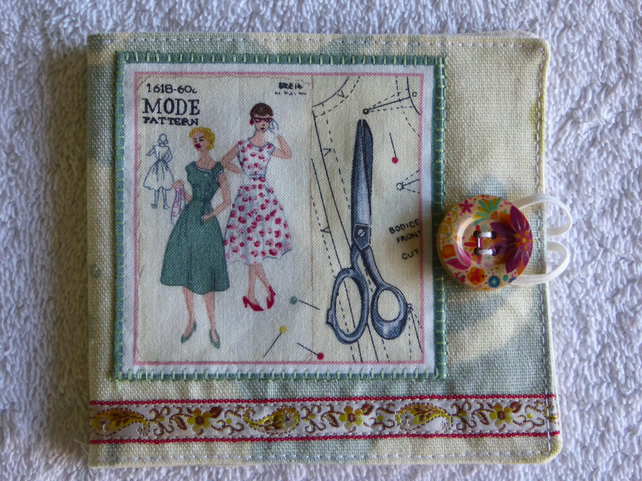 Sewing Needle Case with Sewing Pattern Panel. Cream.
