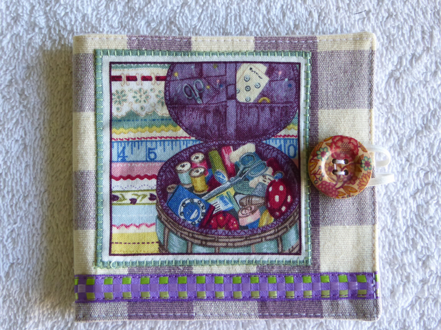 Sewing Needle Case with Sewing Pattern Panel. Purple.