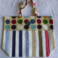 Fold Up Bag in Spots and Stripes Fabric