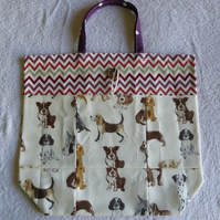 Fold Up Bag in Puppy Dog Print Fabric