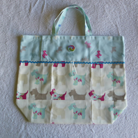 Fold Up Bag in Scottie Dog Print Fabric