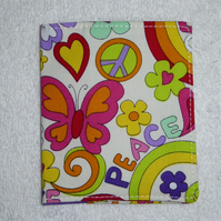 Flip Card Wallet. Love and Peace Print Fabric