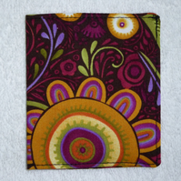Flip Card Wallet. Folk Art Flowers on Purple Print Fabric