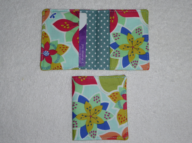 Flip Card Wallet. Flowers on Pale Green Print Fabric