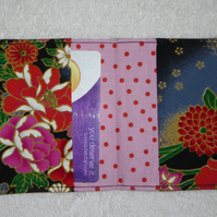Flip Card Wallet. Japanese Flowers on Black  Print Fabric