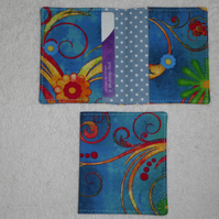 Flip Card Wallet.Flowers on Blue Print Fabric