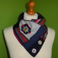 Neck Warmer Scarf with 3 button Trim. Up-cycled Cowl. Felt Flower. Blue