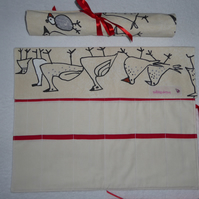 Knitting Needle Roll In Chicken Print Cotton  with 3 Pairs Bamboo Needles.