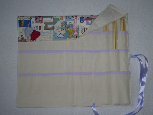 Knitting Needle Roll In Vintage Sewing Print Co Folksy