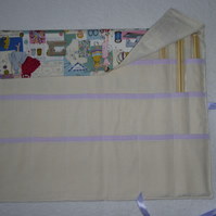 Knitting Needle Roll In Vintage Sewing Print Cotton with 3 Pairs Bamboo Needles.