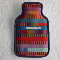 Patchwork Hot Water Bottle Cover. Stripes