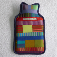 Patchwork Hot Water Bottle Cover. Stripes and Squares