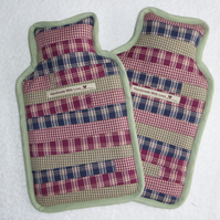 Patchwork Hot Water Bottle Cover.  Checks with Green Trim.