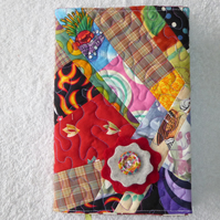 Notebook. A5 size. Lined Notepad with Quilted Crazy Patchwork Cover. Red