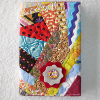 Notebook. A5 size. Lined Notepad with Quilted Crazy Patchwork Cover. Woodstock