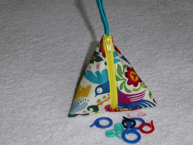 Stitch Marker Holder. Mini Pyramid Purse. Sewing Notions Holder. Folk Art Print