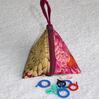 Stitch Marker Holder. Mini Pyramid Purse. Sewing Notions Holder. Burgungy Print