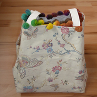 Project Bag with Pom Pom Trim. Butterfly Print Bag. Project Holdall