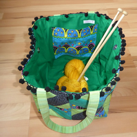 Project Bag with Pom Pom Trim.Patchwork Square Bag.  Project Holdall. Green