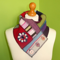 Neck Warmer Scarf with 3 button Trim. Upcycled Cowl. Felt Flower. Purple  Cream