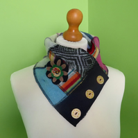 Neck Warmer Scarf with 3 button Trim. Upcycled Cowl. Felt Flower. Blue and Grey