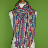 Scarf in Crochet Wave Stitch with Circle Tassel Trim. Multicoloured Scarf