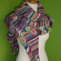 Shawl Scarf in Crochet Stripes with Circle Tassel Trim. Multicoloured Scarf
