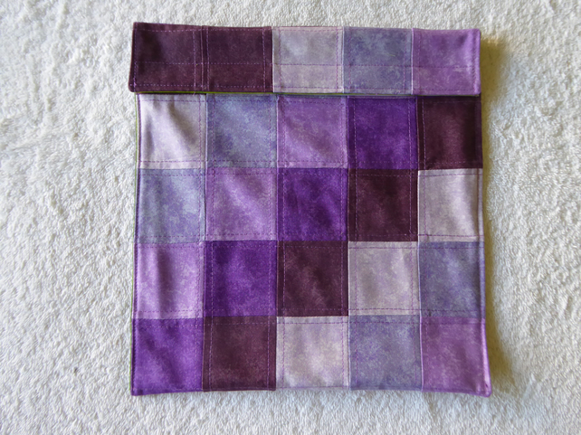 Wheat Bag from Patchwork Squares in Purples. Microwave Heat Pad.