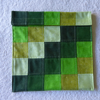 Wheat Bag from Patchwork Squares in Greens. Microwave Heat Pad.