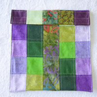 Wheat Bag from Patchwork Squares in Greens and Purples. Microwave Heat Pad.