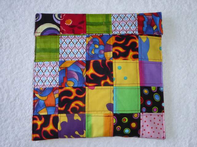 Wheat Bag created from Patchwork Squares in Multicolours. Microwave Heat Pad.