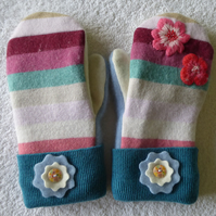 Mittens Created from Up-cycled Wool Jumpers. Fully Lined. Stripe with Blue Cuff