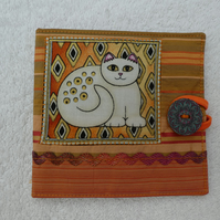 Sewing Needle Case with Applique Cat Panel. White Cat.