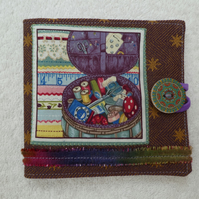 Sewing Needle Case with Sewing Basket Pattern Panel. Purple.