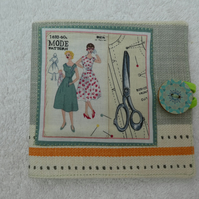 Sewing Needle Case with Sewing Pattern and Scissors Printed Panel. Cream.
