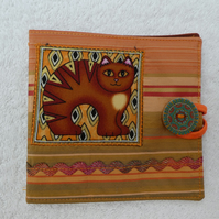 Sewing Needle Case with Applique Cat Panel. Brown  Cat.